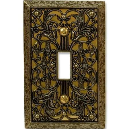 toggle switch plates amerelle wall plates filigree 1 toggle wall plate antique brass 65tab
