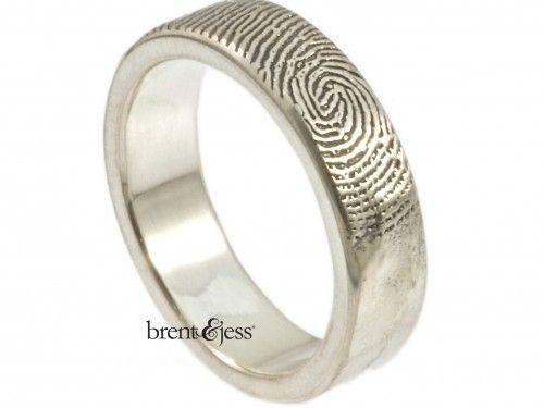 Fresh Refined Edge Single Fingerprint Ring With Organic Finish by Brent u Jess Custom Handmade Fingerprint