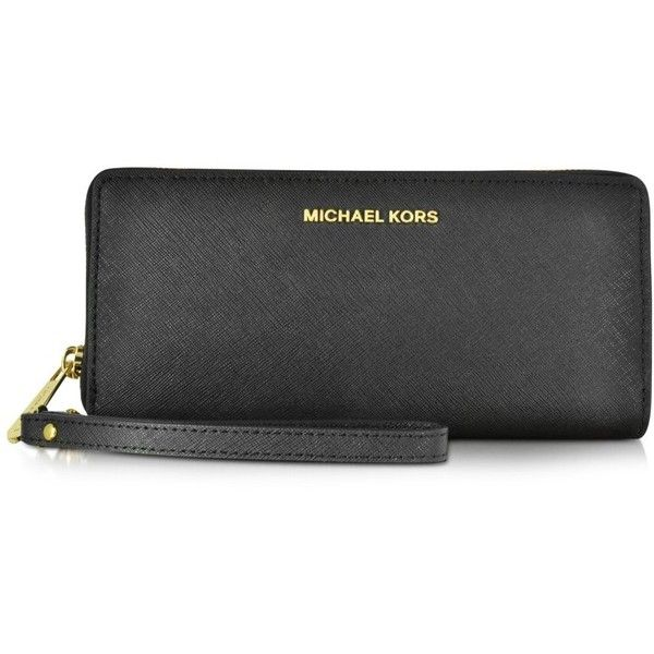 Michael Kors Jet Set Travel Large Continental Wristlet Leather Wallet ($168) ❤ liked on Polyvore featuring bags, wallets, black, handbags, genuine leather wallet, michael kors, zippered travel wallet, leather wallet and travel wallet
