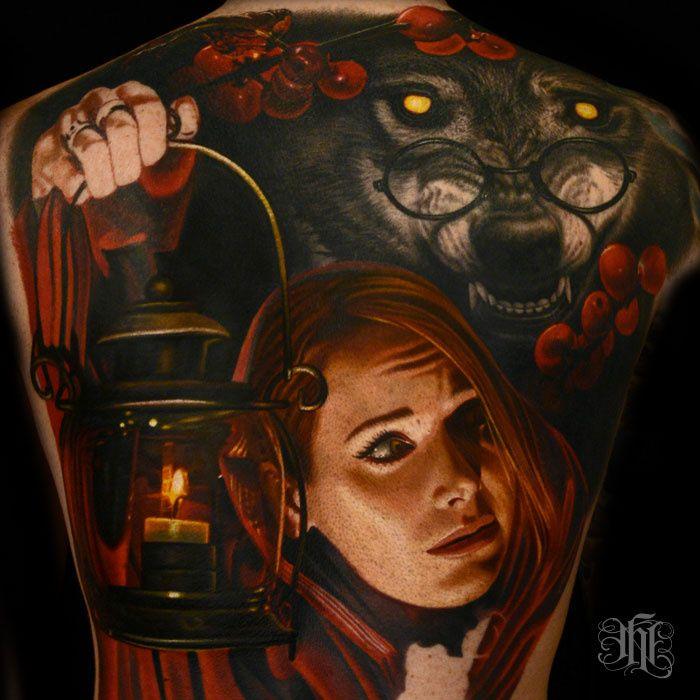Fantastic photorealistic little red riding hood / wolf backpiece tattoo by Nikki Hurtado