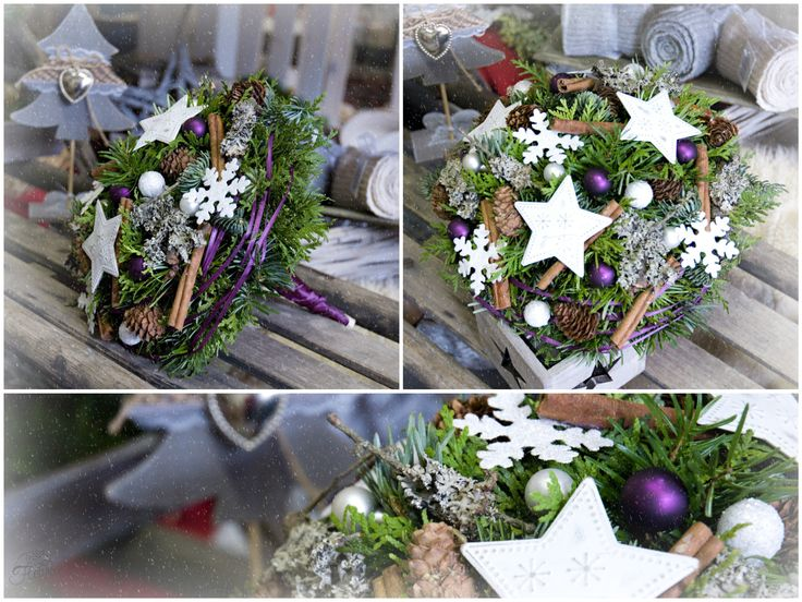 Vánoční kytice do fialova #christmas #flower #purple #arrangement #decoration
