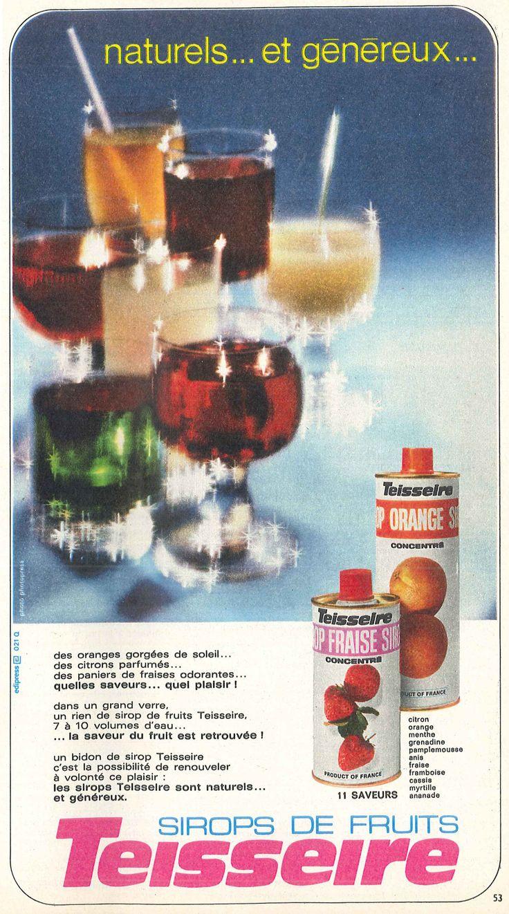 Sirops de fruits Teisseire - Modes de Paris, décembre 1970