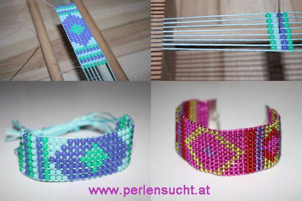 Armbänder mit Perlenweben mit unserem Webrahmen. bei Perlensucht Euro 12,-- www.perlensucht.at