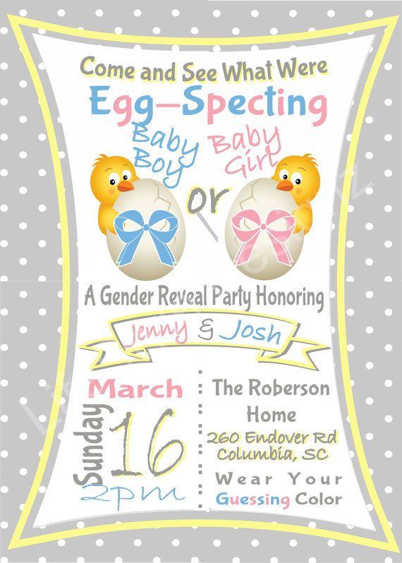 EggSpecting Gender Reveal Invitation, Easter Baby, Baby Shower, Baby Chic, Spring
