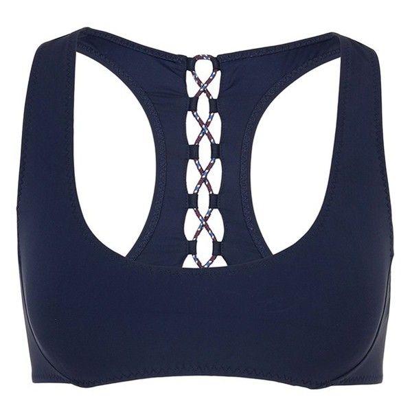 Stella McCartney 'Lacing' racerback bikini top ($158) ❤ liked on Polyvore featuring swimwear, bikinis, bikini tops, blue, nautical bikini, blue bikini, summer swimwear, lace up swimwear and swimsuit tops