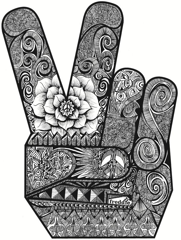 Peace Fingers Illustration by Freddie James Denton