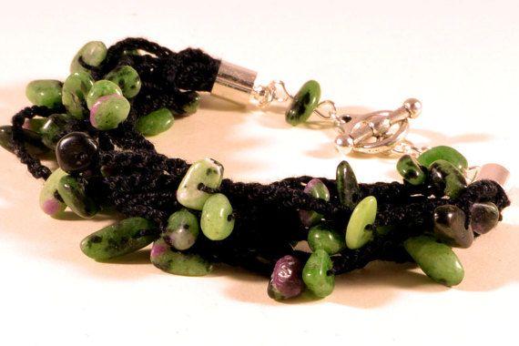 Crochet and minerals - Ruby Zoisite bracelet, summer jewelry, handmade bracelet