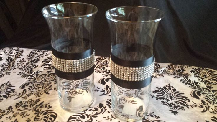 "4-9"" Cylinder Centerpiece Vases Wedding Black & Bling Ribbon"