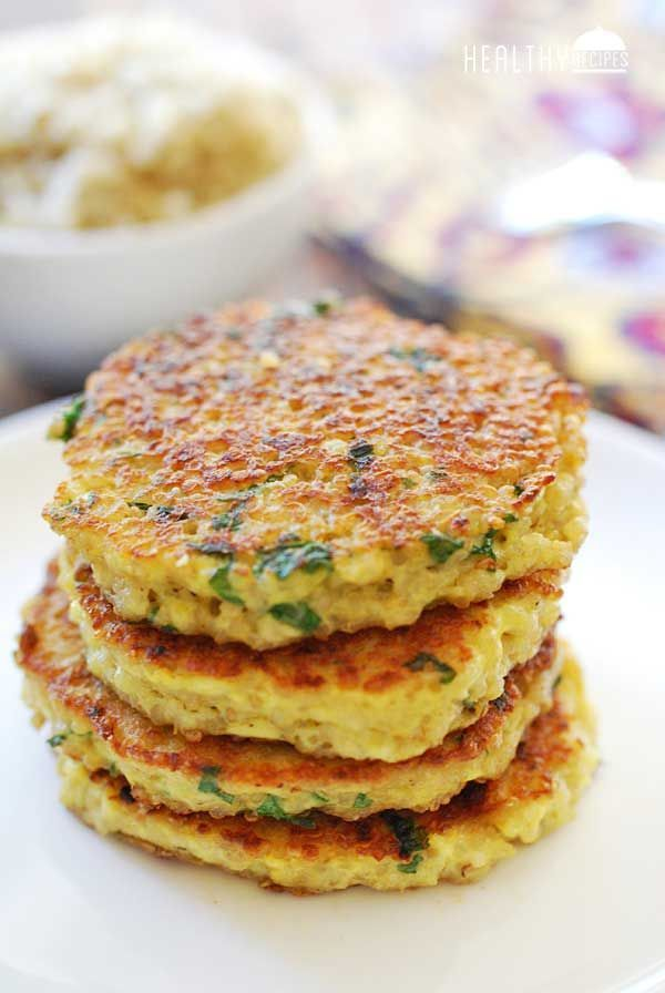 Quinoa Cakes 2 c cooked quinoa; 2 large eggs; 1 t minced garlic; 2 T grated Parmesan; ½ t kosher salt; ¼ t black pepper; ¼ c chopped parsley; 2 T unsalted butter. In large bowl, combine all ingredients except butter.Heat double-burner griddle, or 2 large skillets, over medium heat. Add 1 T butter.brush to coat. Using ¼ cup measuring cup per cake, drop mixture into pan lightly flatten. Fry until golden-brown, about 4 min per side, adding more butter as needed