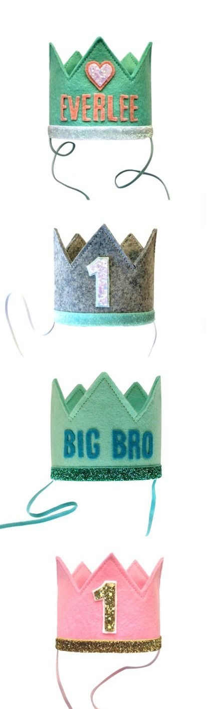 Great for first birthdays or a soon-to-be big brother or sister at the baby shower, these felt crowns are a great way to make your little prince or princess feel truly special. Even after the party is over, these hats are fun for playing pretend and dress up!