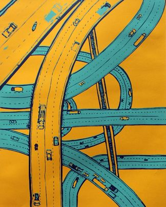 """Twisting Roads, 12"""" x 15"""", limited edition of 25"""
