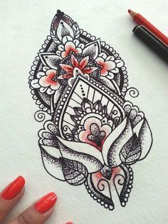 mandala | Love the dot/line work with a Pop of colour in this mandala tattoo