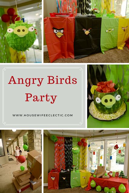 Housewife Eclectic: Angry Bird Party. All of the details for an amazing Angry Birds party, including how to make the Pinata and Watermelon!  #AngryForSavings #ad
