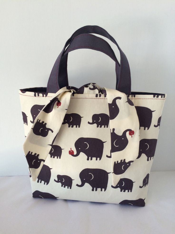 fabric bag, tote bag, grey tote, elephant fabric, medium tote, handmade bag by SistersKnot on Etsy