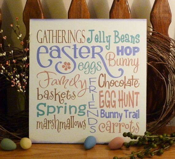 Easter Typography Painted Wood Primitive Sign by 2ChicksAndABasket, $25.95