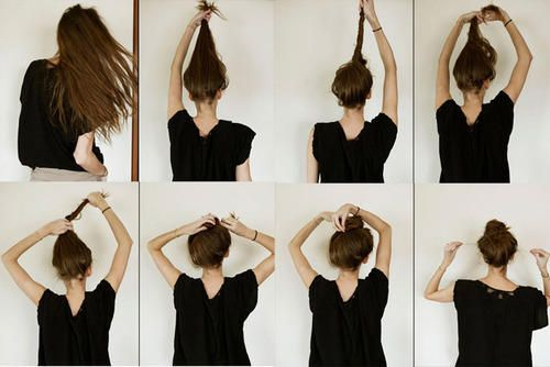 easy-ways-to-creat-messy-bun-for-school-girls ----------------------------- This is genius, best way I've ever tried to make a messy bun that actually stays.