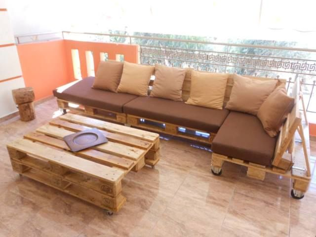 Pallet Terrace Furniture, Sectional Sofa Table | 99 Pallets Inexpensive solution for Patio Furniture!