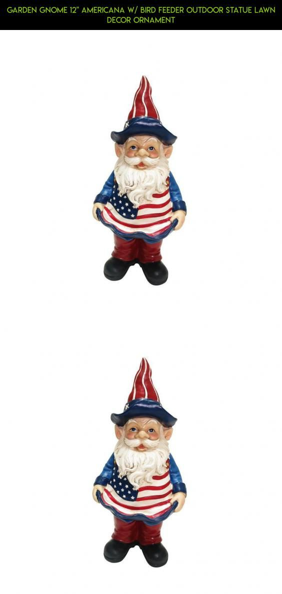 """Garden Gnome 12"""" Americana W/ Bird Feeder Outdoor Statue Lawn Decor Ornament #fpv #products #gadgets #tech #racing #camera #kit #drone #plans #americana #decor #technology #shopping #parts #outdoor"""
