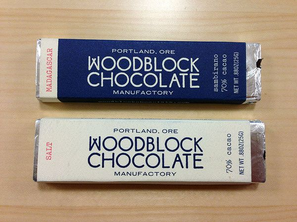 Woodblock Chocolate Handmade in Portland in Packaging