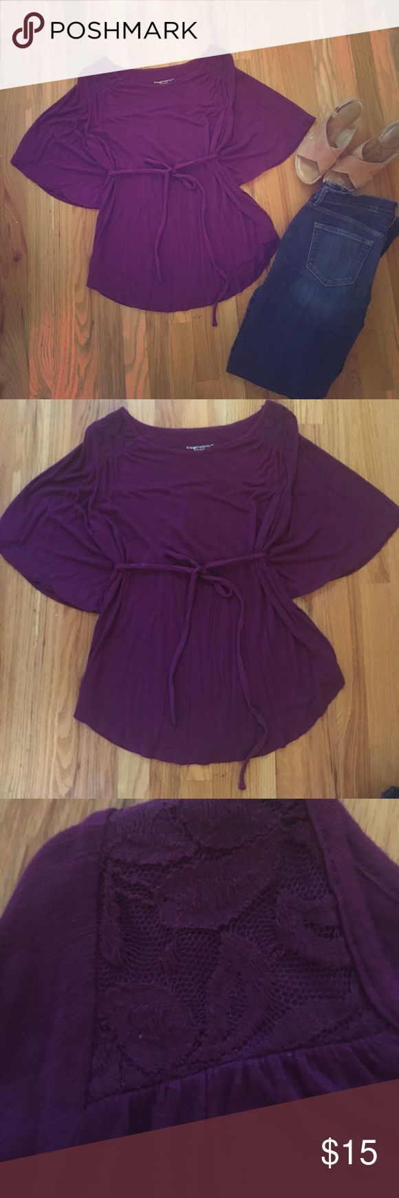 NWOT Flattering Batwing  and lace top with sash NWOT Beautiful and flattering purple batwing maternity top with sash and lovely lace detailing. Absolutely stunning! Great confidence booster when you are feeling like an elephant in late pregnancy😉 Liz Lange Tops Blouses