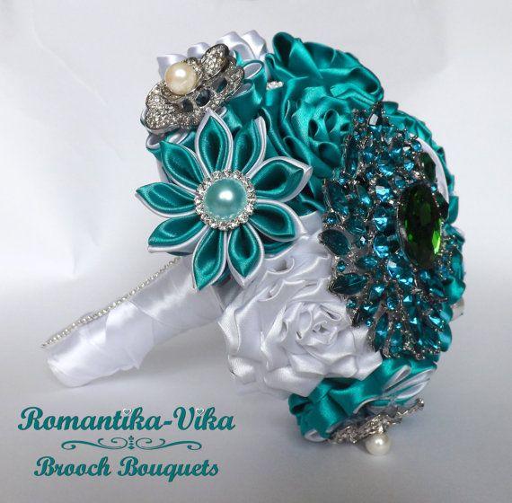 Brooch Bouquet. White and Cyan wedding brooch от RomantikaVika