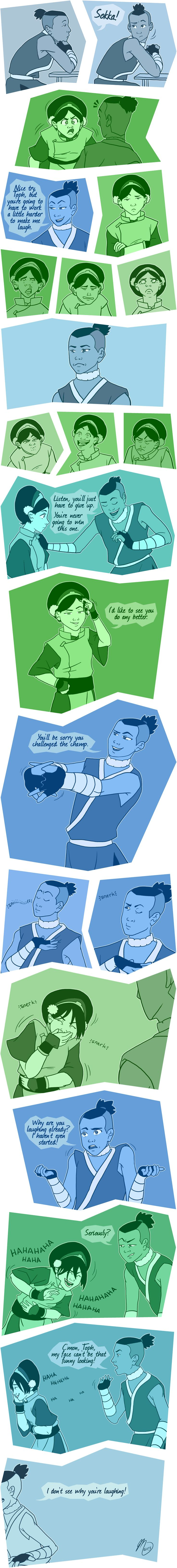 Tokka Week: Moment of Truth by Maivry -- Sokka just keeps forgetting that Toph is blind.. I love that so much
