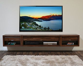 Wall Mounted TV Stand Entertainment Console Mayan by WoodwavesInc