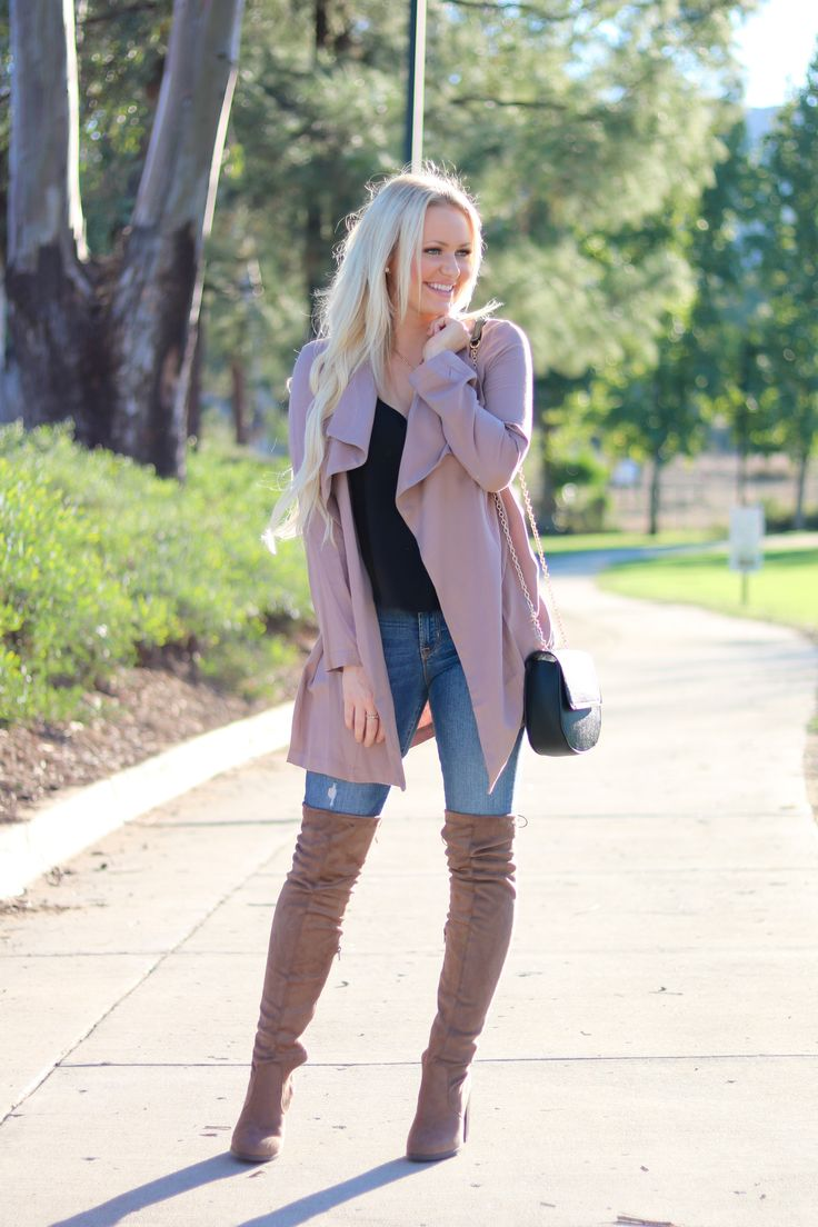 mauve duster jacket tall boots outfit