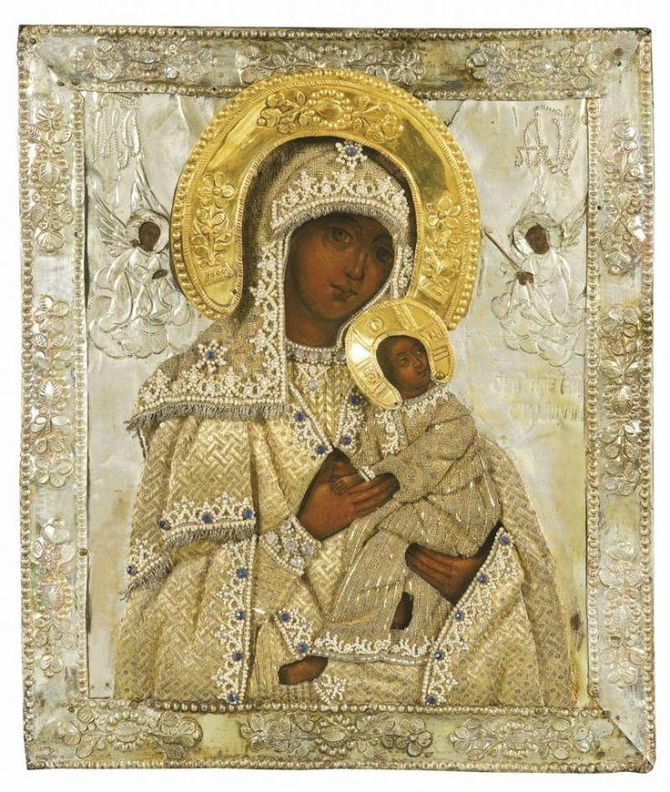 Вышитая жемчугом икона Божьей Матери страстей, XIX век