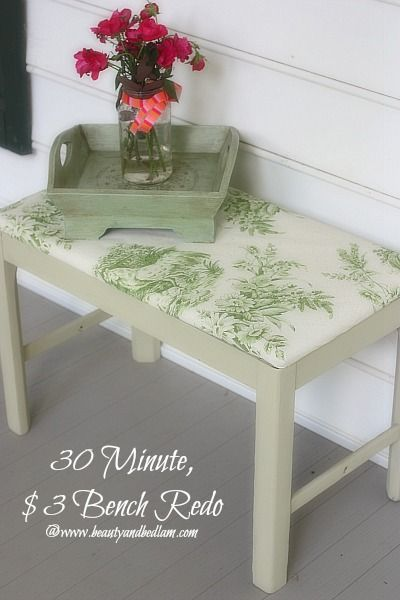 30 Minute $ DIY Bench Redo @jen (Balancing Beauty and Bedlam/10 Minute Dinners blogs)    And I didn't even use fabric. Can you guess what this is?