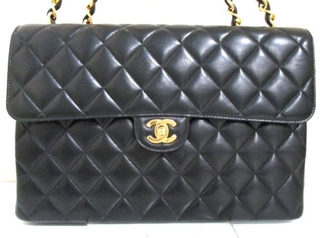 "CHANEL. ONLINE SPECIAL Black Lambskin Jumbo 12"" Flap Quilted Goldplated Handcrafted Chanel vintage Shoulderbag"