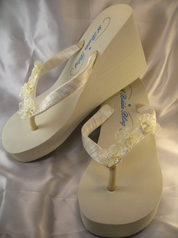 Ivory Wedge Flip Flops with Flowers Ivory flat Flip by ABiddaBling, $49.99