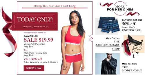 Hudsons Bay Canada Pre Black Friday One Day Sale: Save 66% Off CK Lingerie Set  30% Off Lingerie & Hosiery  2... http://www.lavahotdeals.com/ca/cheap/hudsons-bay-canada-pre-black-friday-day-sale/136540