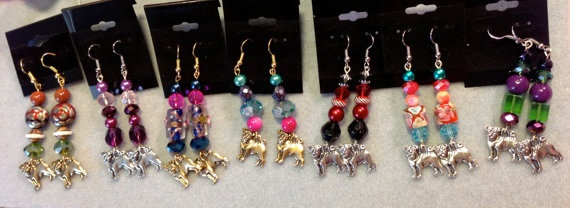 Pug and Paw Charm Beaded Earrings to Support pug rescues by WhimsicalMystical