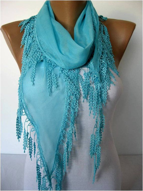 Light Blue scarf women scarves  guipure  gift Ideas by MebaDesign