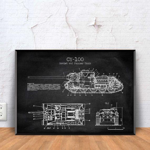SOVIET SU-100 TANK poster su 100 blueprint su 100 by PrintPoint