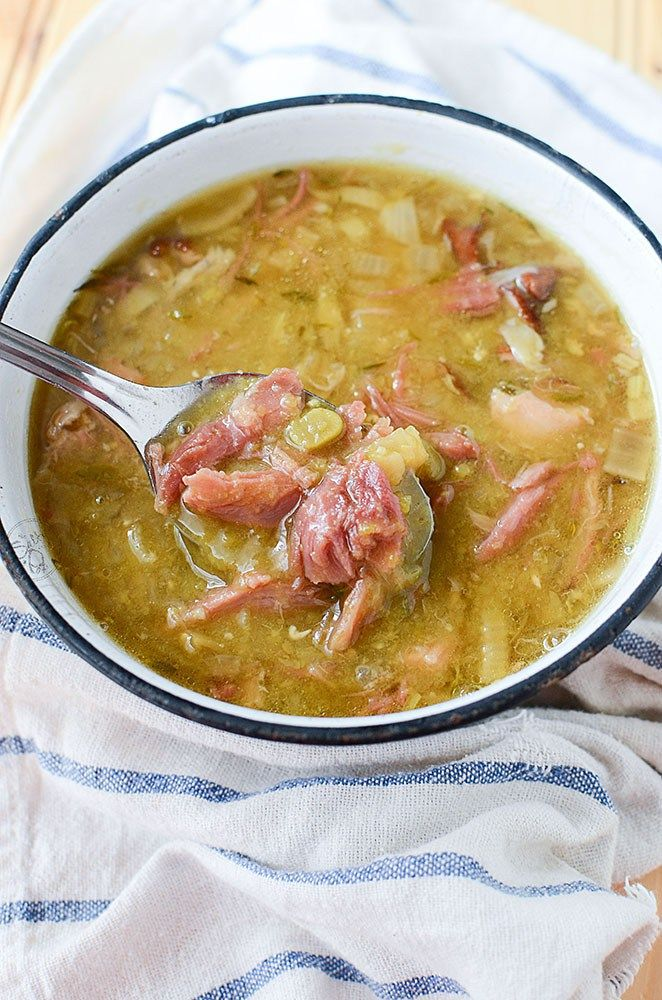 Slow cooker Smoked Pork Hock Soup with Peas. Smoky and hearty, this soup is filled with amazing flavor that's frugal to make and tasty to eat. Much like your ham and split pea soup, this soup has a smokier pulled pork flavor and texture. #slowcooker #slowcookerrecipe #soup #slowcookersoup
