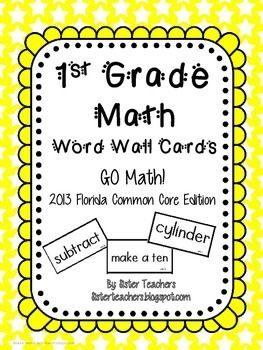 Go Math! 1st Grade Word Wall Cards