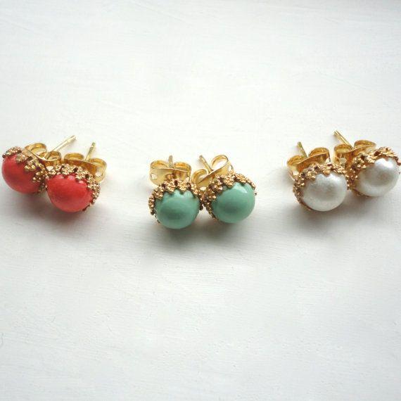 Tiny Stud Earrings  Coral Mint & Pearl  by ASimpleKindOfFancy
