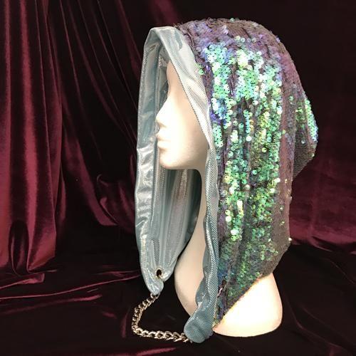 Mad Dame Reversible Hood - Mermaid Grass and Metallic Mint
