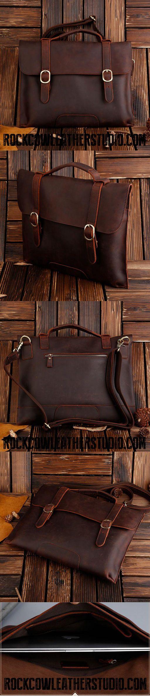ROCKCOW Real Leather Messenger Bag Cross Body Satchel Brown Bag Briefcase 1132