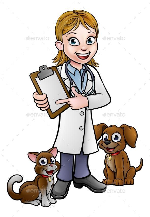 Vet Cartoon Character Holding Clipboard Cartoon Clip Art Dog Drawing Cartoon