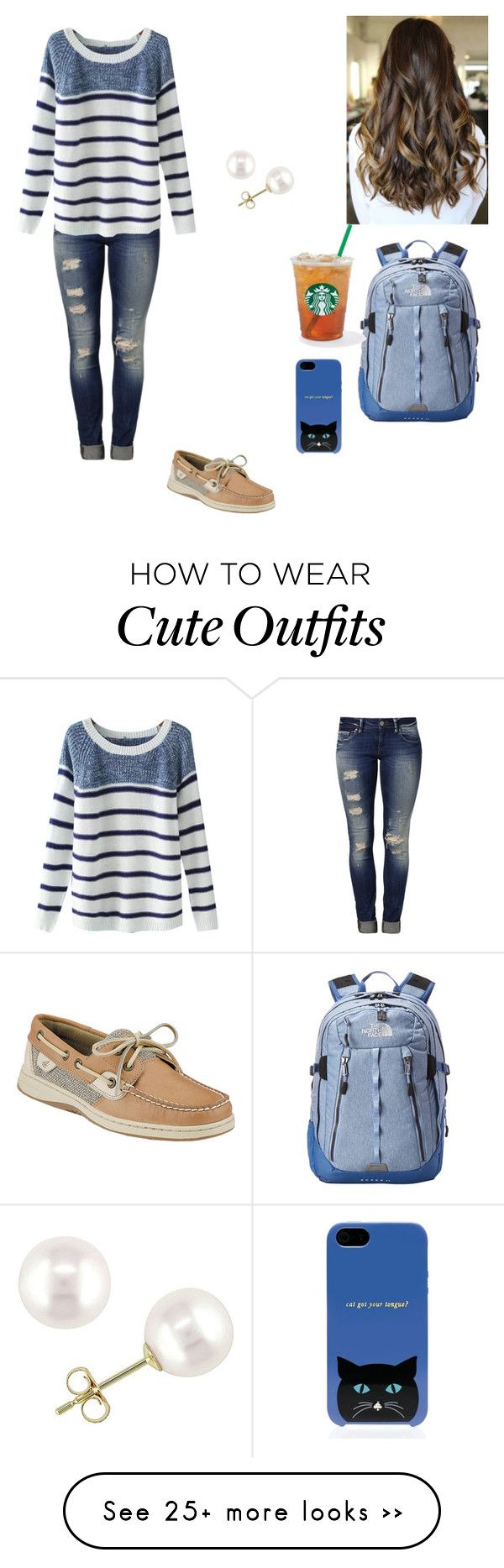 """An cute & easy school day outfit"" by edwardsleanna on Polyvore featuring Mavi, Chicnova Fashion, Sperry Top-Sider, Miadora, The North Face and Kate Spade"