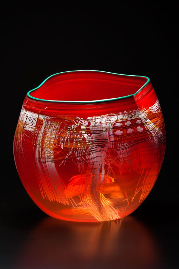 Dale Chihuly - Scarlet Soft Cylinder with Pine Lip Wrap 2014 Glass 18 x 17 x 16 inches - Arthur Roger Gallery
