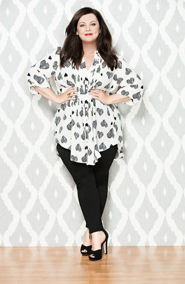 Melissa McCarthy Seven7 Belted Heart Print Pintuck Blouse. For more inbetweenie and plus size inspiration go to www.dressingup.co.nz