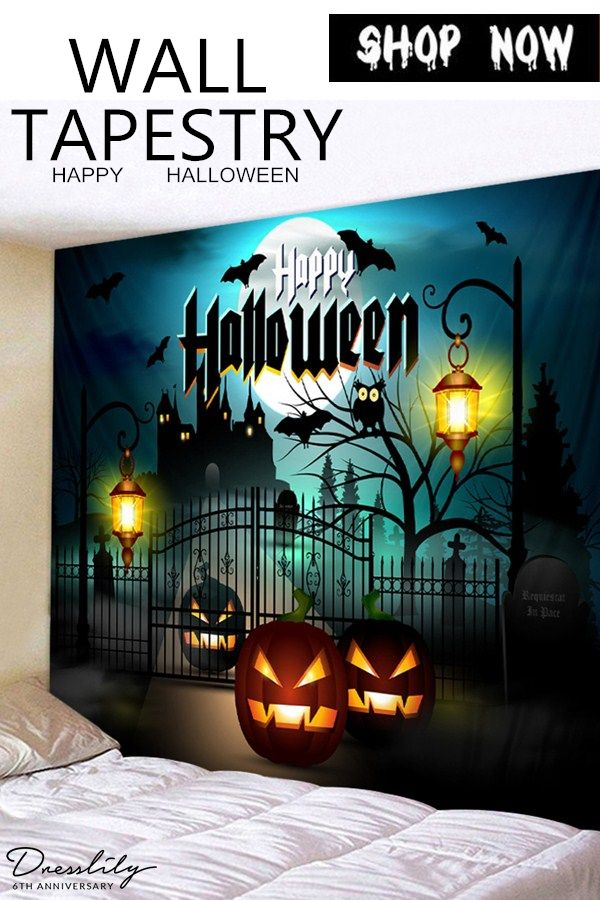 63d1da51fb1 Halloween Night Pumpkin Lantern Terror Castle Printed Tapestry Wall Art.   dresslily  halloween  wallart