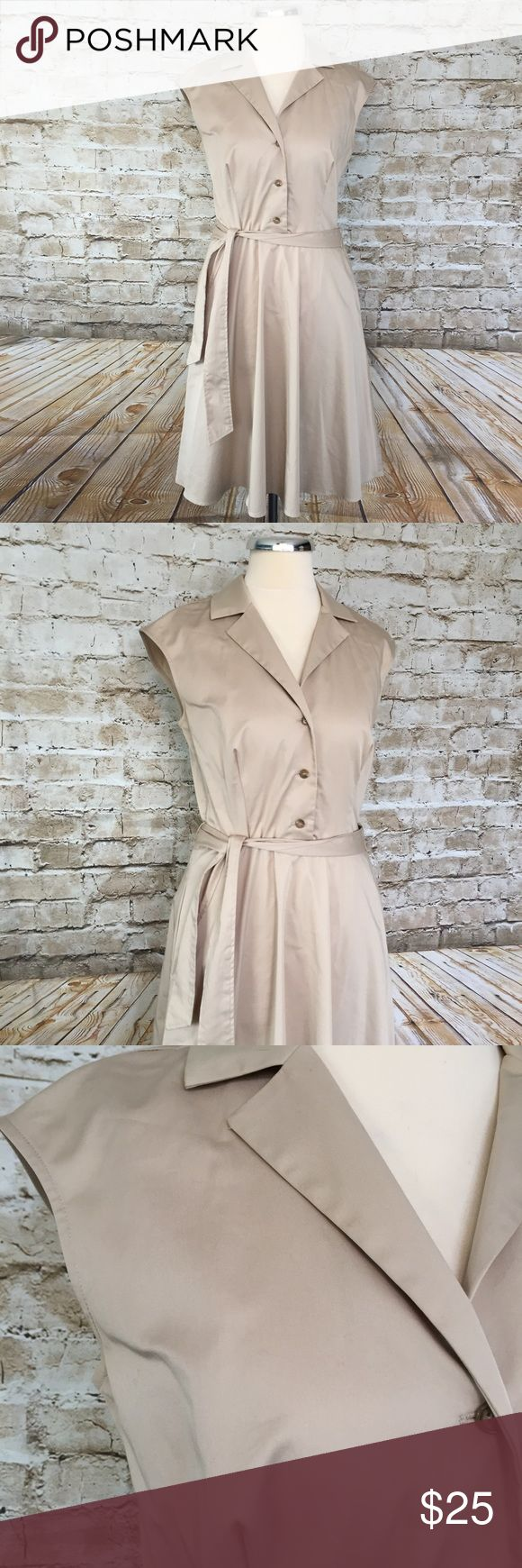 Ann Taylor Khaki Shirt Dress Sz 2 Gorgeous dress  Belted  Machine wash  Two front pockets   Measurements in inches when laid flat:  Bust: 16 Waist: 14 Hips: 18 Total length: 37.5 Length from under arm to hem: 28 Ann Taylor Dresses