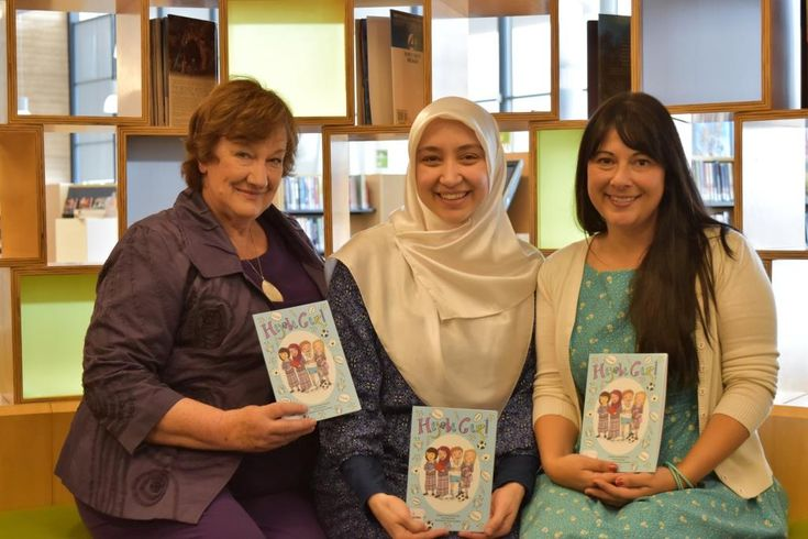 'Hijabi Girl' co-authors Hazel Edwards & Ozge Alkan & illustrator  Serena Geddes at Craigieburn Library launch. Credit Hume City Council for photo. Book sold out and reprinted immediately