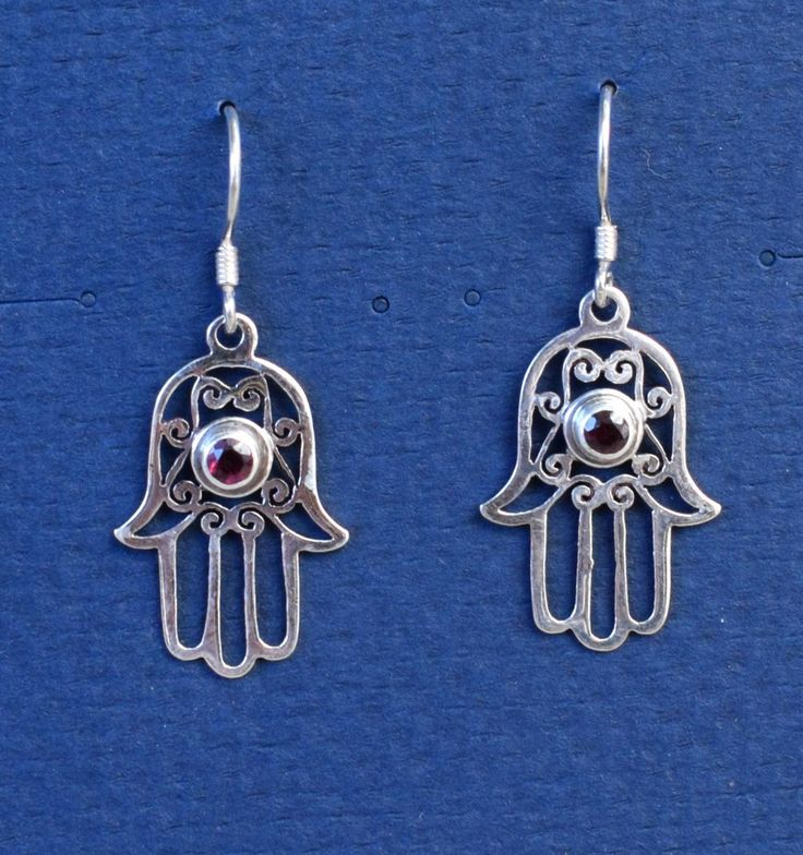 ~:~ Fair-trade Silver Blessing Hand with Garnet Earrings at Kasper Organics make a lovely gift ~:~