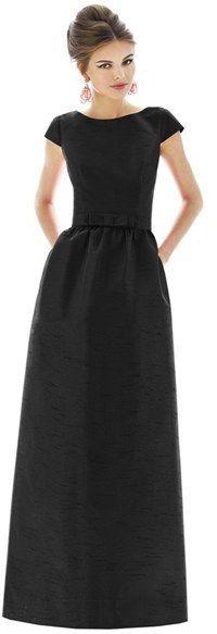 Women's Alfred Sung Cap Sleeve Dupioni Full Length Dress